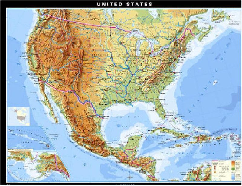 US Geography Mountain Ranges Physical Map Landforms Of North - Us mountain map